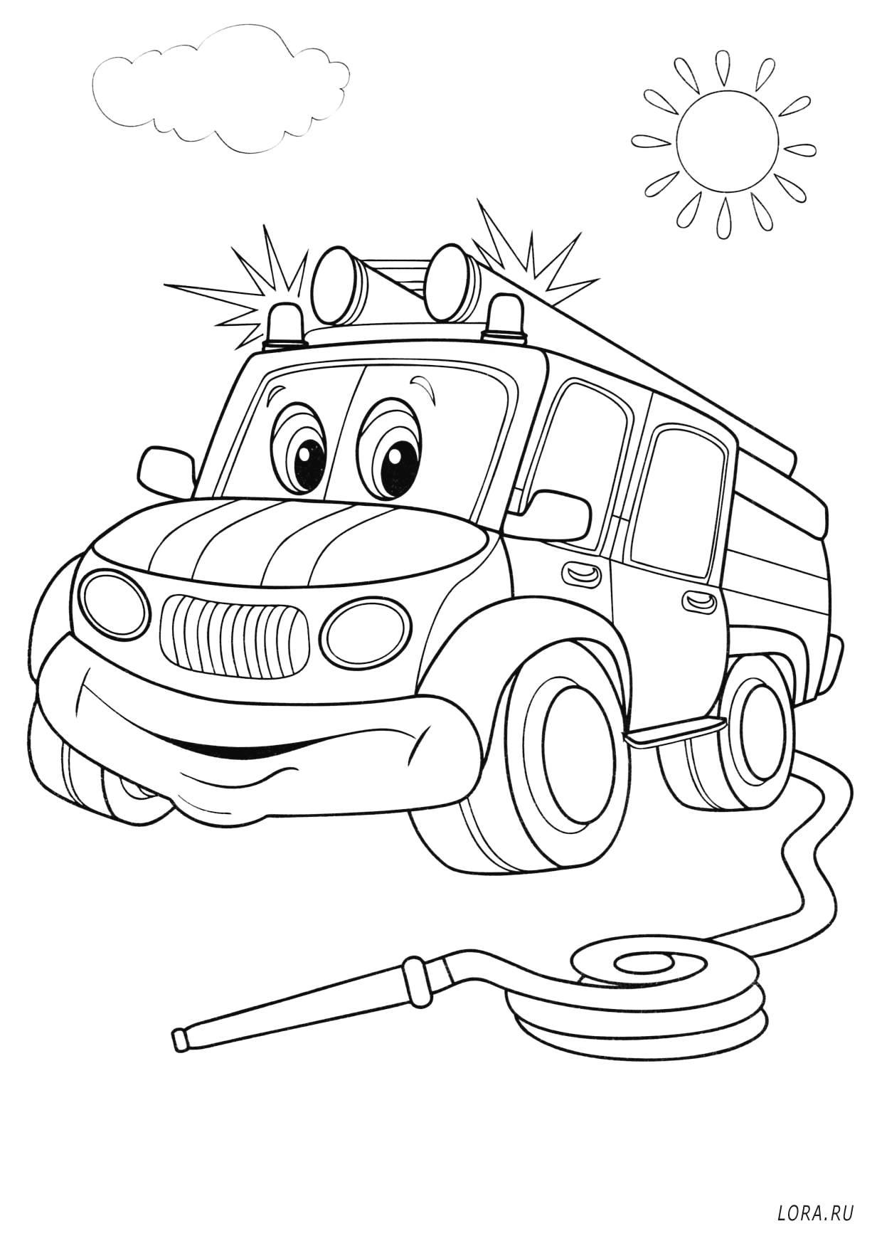 Пожарная машина | Раскраска для детей